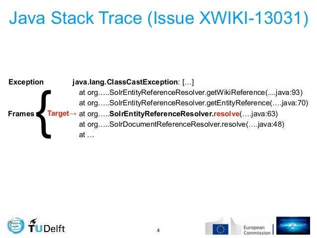 Java Stack Trace (Issue XWIKI-13031) !4 java.lang.ClassCastException: […] at org…..SolrEntityReferenceResolver.getWikiRefe...