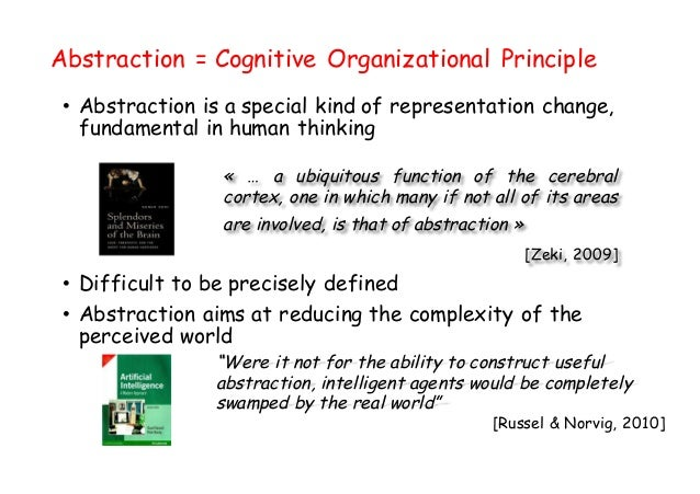 Abstraction = Cognitive Organizational Principle • Abstraction is a special kind of representation change, fundamental in ...