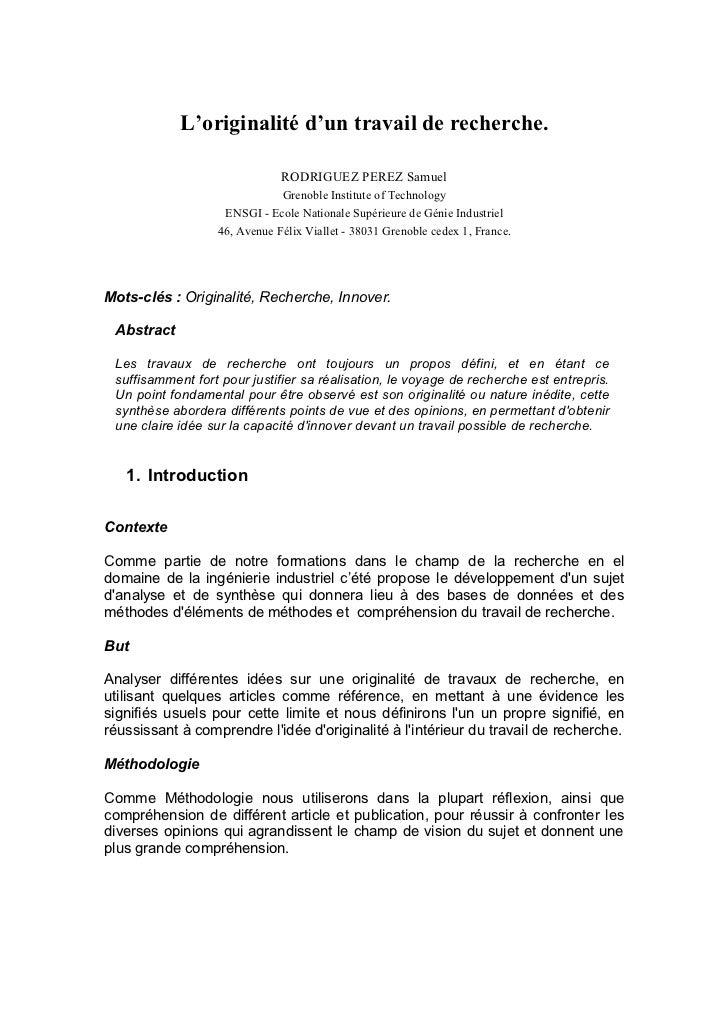 L'originalité d'un travail de recherche.                              RODRIGUEZ PEREZ Samuel                              ...