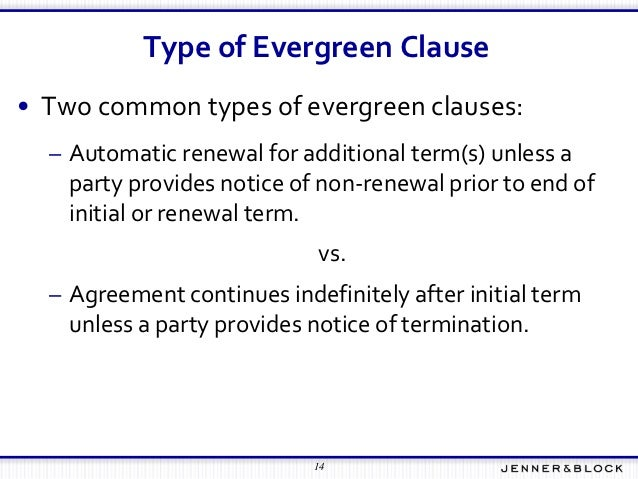 Evergreen Clause Fundamentals