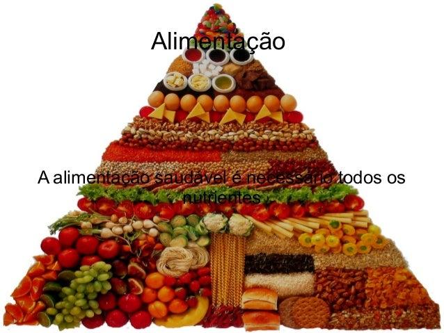 Alimentação  A alimentação saudável é necessário todos os nutrientes