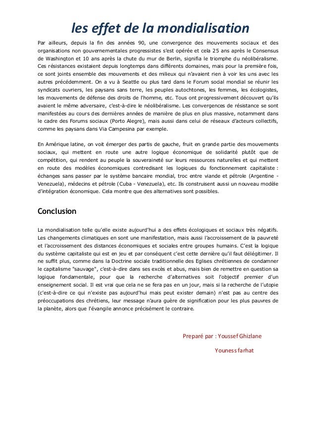 les effet de la mondialisationPar ailleurs, depuis la fin des années 90, une convergence des mouvements sociaux et desorga...