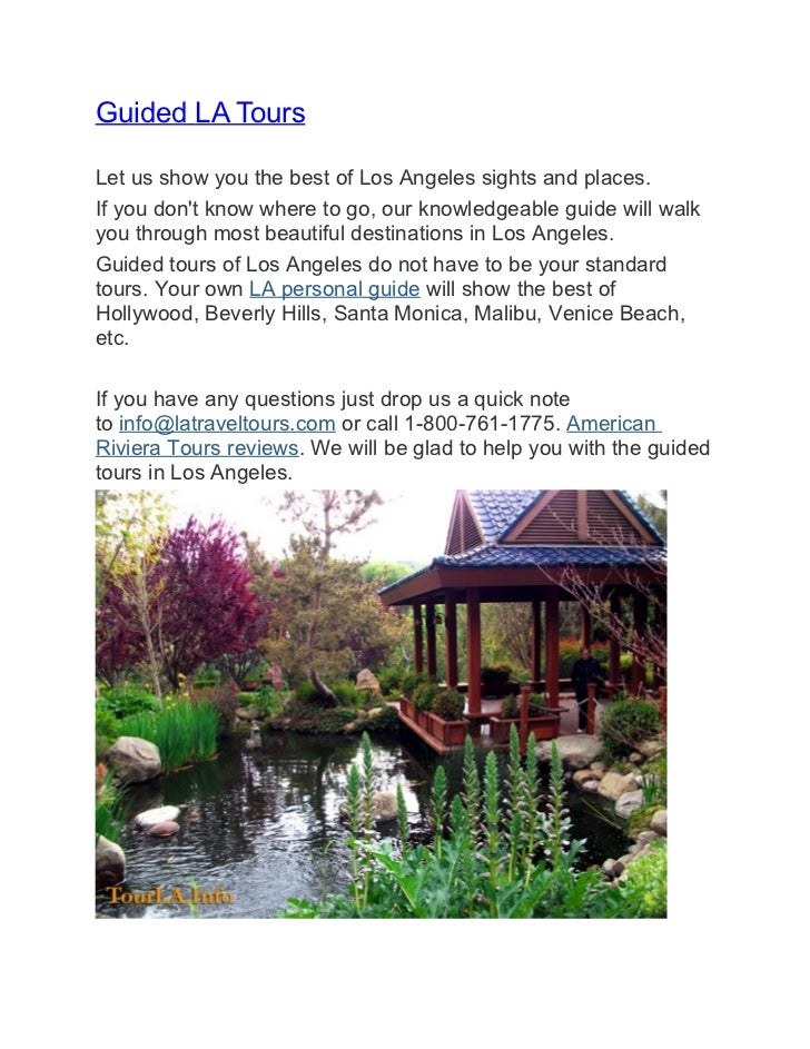Guided LA ToursLet us show you the best of Los Angeles sights and places.If you dont know where to go, our knowledgeable g...