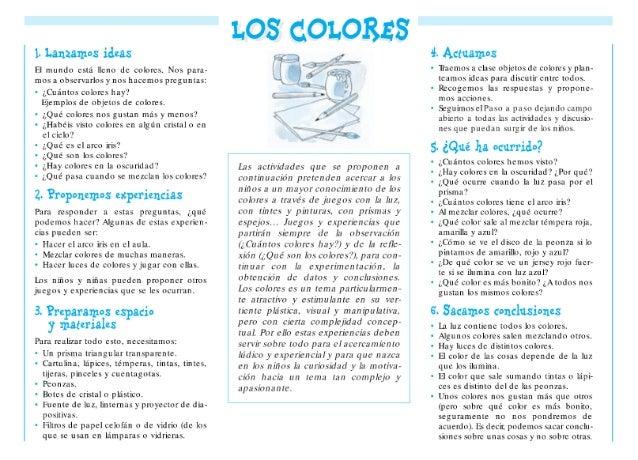 l.  lanzamos idas  El mundo está lleno de colores.  Nos para- mos u observados y nos hacemos preguntas:   0 ¿Grintos color...