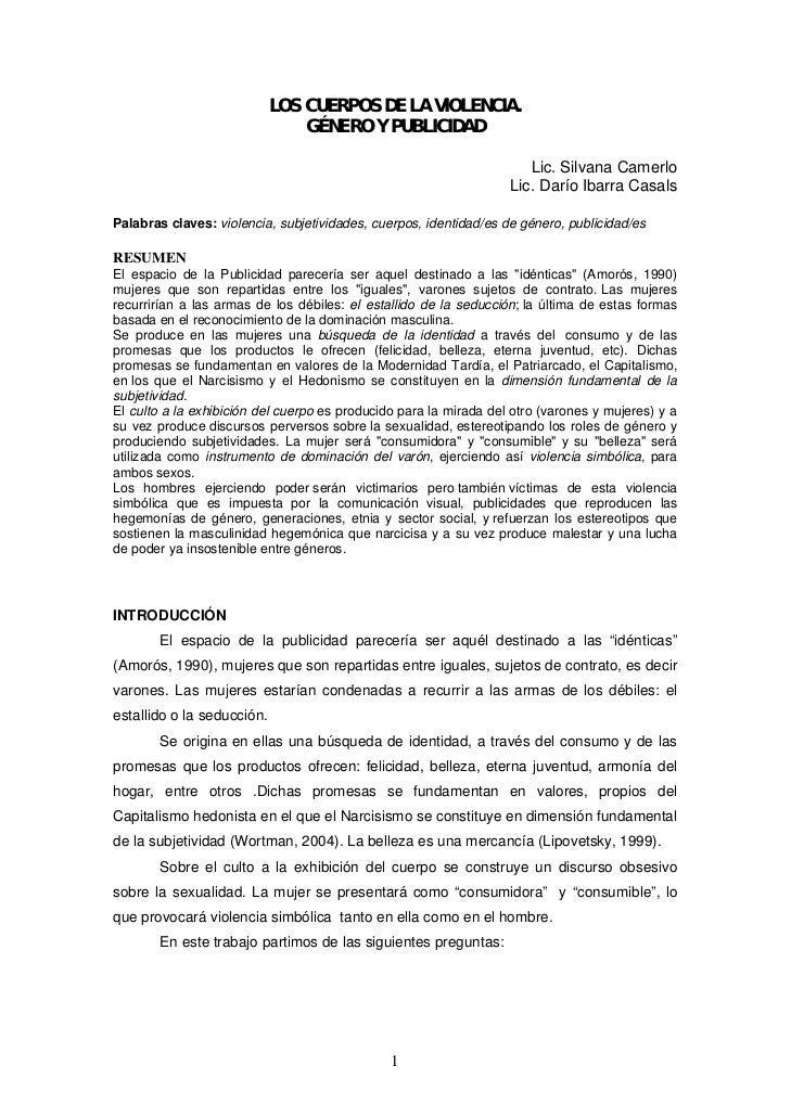 LOS CUERPOS DE LA VIOLENCIA.                                GÉNERO Y PUBLICIDAD                                           ...