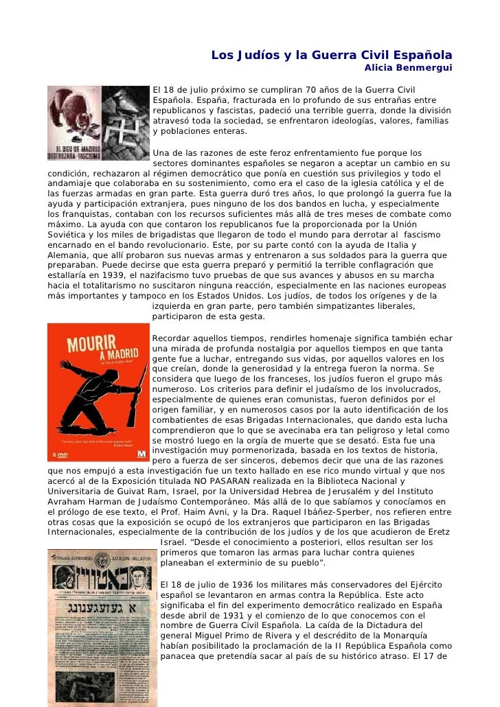 Los Judíos y la Guerra Civil Española                                                                            Alicia Be...