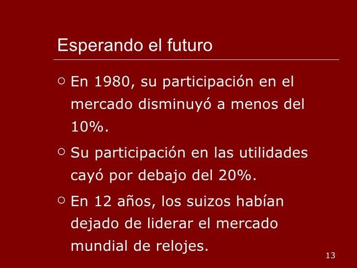 Esperando el futuro <ul><li>En 1980, su participación en el mercado disminuyó a menos del 10%. </li></ul><ul><li>Su partic...