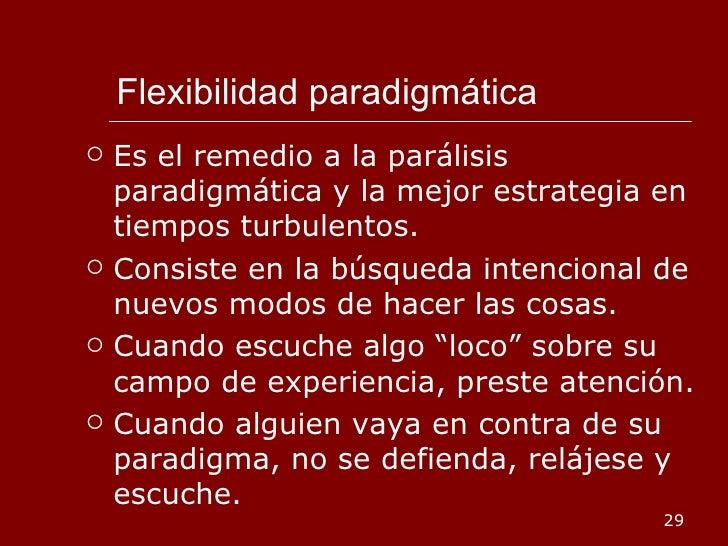 Flexibilidad paradigmática <ul><li>Es el remedio a la parálisis paradigmática y la mejor estrategia en tiempos turbulentos...