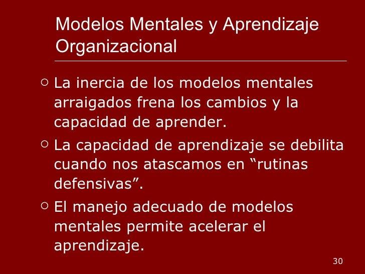 Modelos Mentales y Aprendizaje Organizacional <ul><li>La inercia de los modelos mentales arraigados frena los cambios y la...