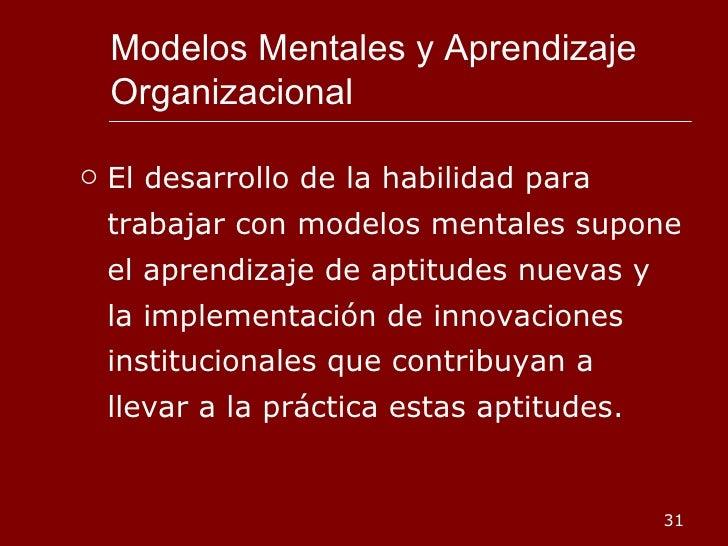 Modelos Mentales y Aprendizaje Organizacional <ul><li>El desarrollo de la habilidad para trabajar con modelos mentales sup...