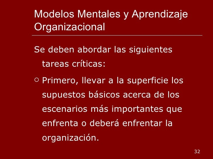 Modelos Mentales y Aprendizaje Organizacional <ul><li>Se deben abordar las siguientes tareas críticas: </li></ul><ul><li>P...