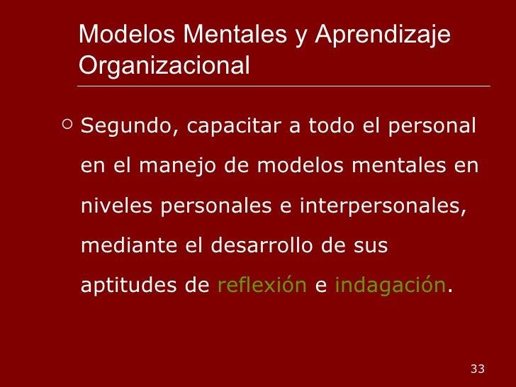 Modelos Mentales y Aprendizaje Organizacional <ul><li>Segundo, capacitar a todo el personal en el manejo de modelos mental...
