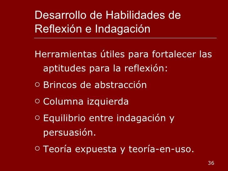 Desarrollo de Habilidades de Reflexión e Indagación <ul><li>Herramientas útiles para fortalecer las aptitudes para la refl...