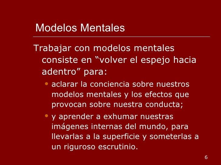 """Modelos Mentales <ul><li>Trabajar con modelos mentales consiste en """"volver el espejo hacia adentro"""" para: </li></ul><ul><u..."""