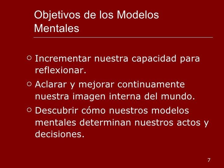 Objetivos de los Modelos Mentales <ul><li>Incrementar nuestra capacidad para reflexionar. </li></ul><ul><li>Aclarar y mejo...