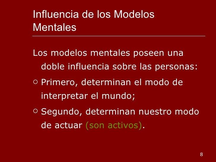 Influencia de los Modelos Mentales  <ul><li>Los modelos mentales poseen una doble influencia sobre las personas: </li></ul...