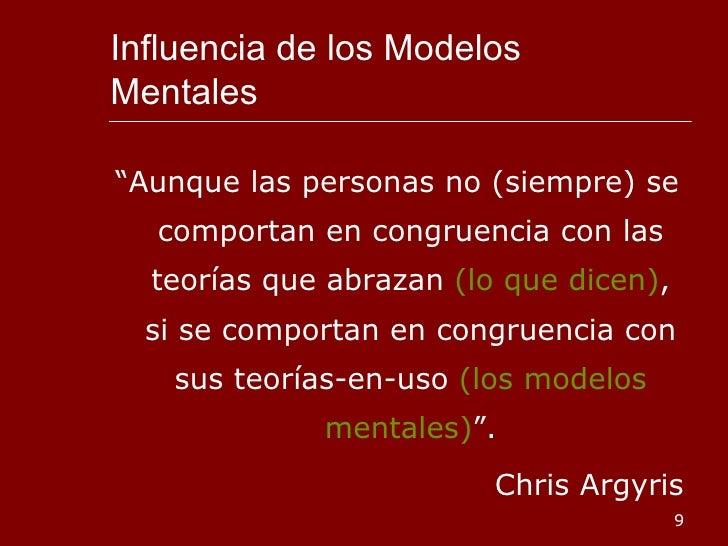 """Influencia de los Modelos Mentales <ul><li>"""" Aunque las personas no (siempre) se comportan en congruencia con las teorías ..."""