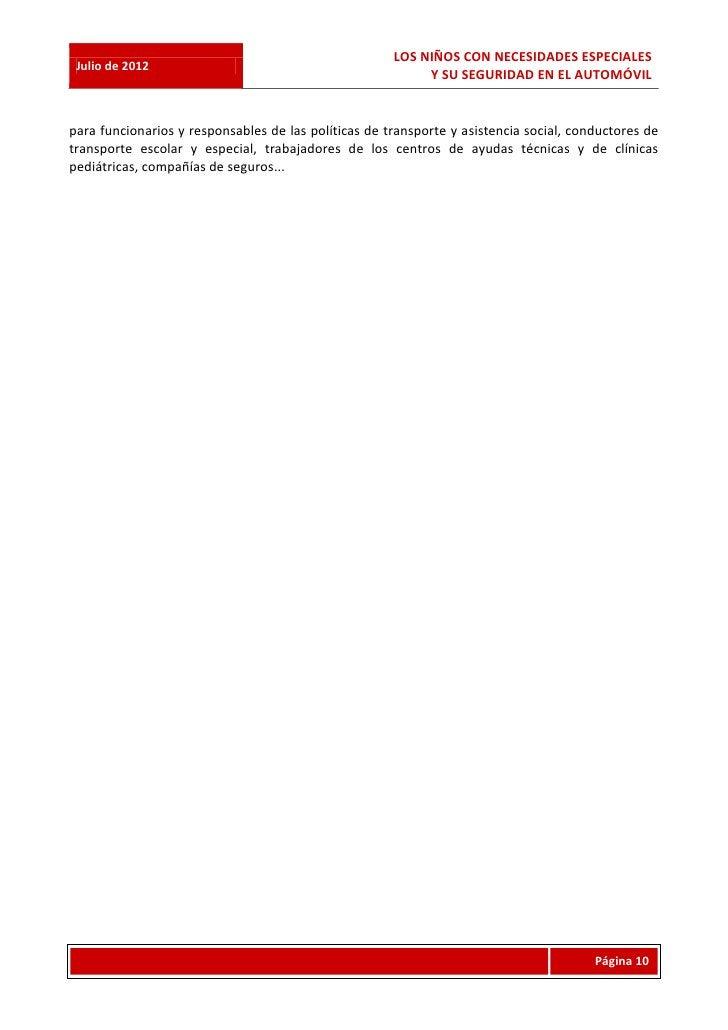LOS NIÑOS CON NECESIDADES ESPECIALES Julio de 2012                                                           Y SU SEGURIDA...