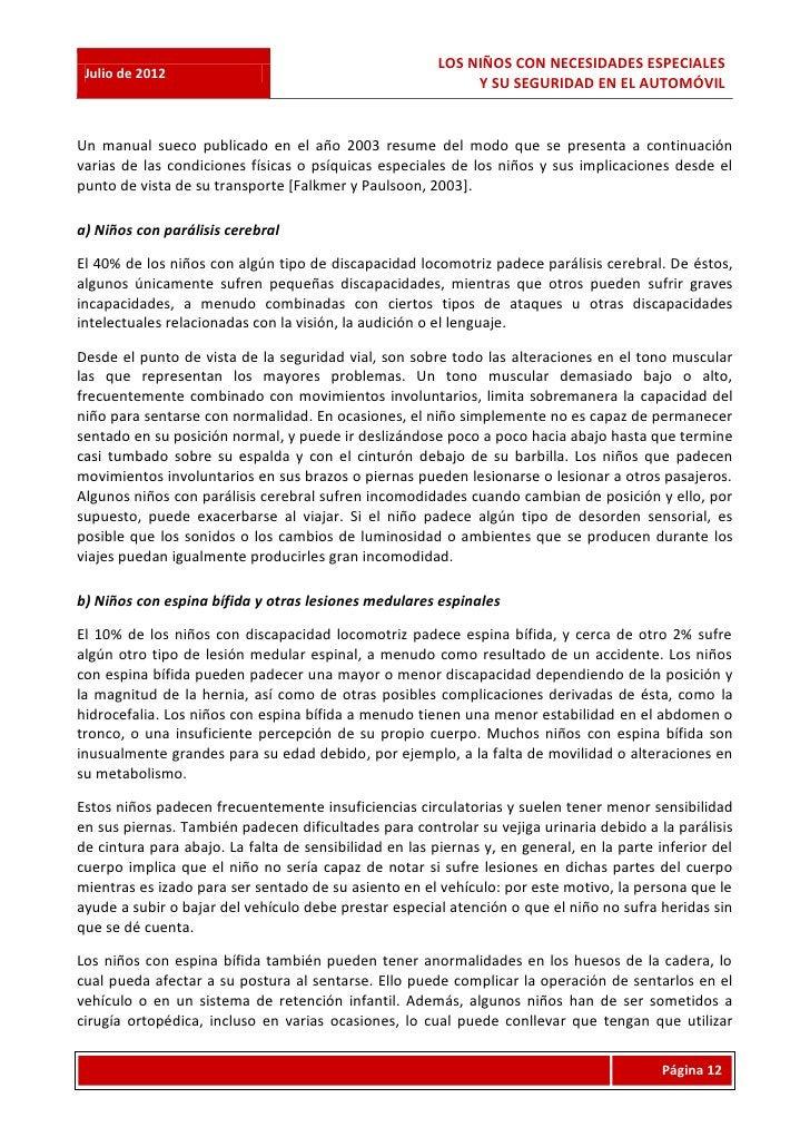 LOS NIÑOS CON NECESIDADES ESPECIALES Julio de 2012                                                             Y SU SEGURI...