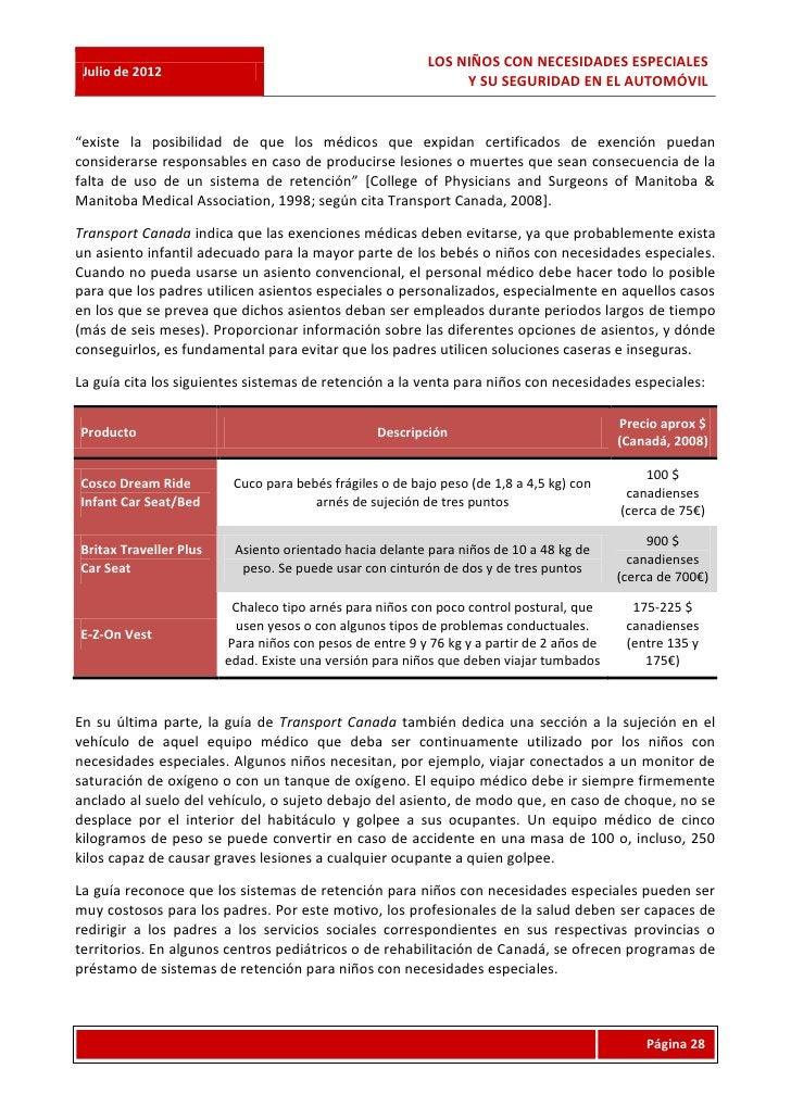 LOS NIÑOS CON NECESIDADES ESPECIALES Julio de 2012                                                               Y SU SEGU...