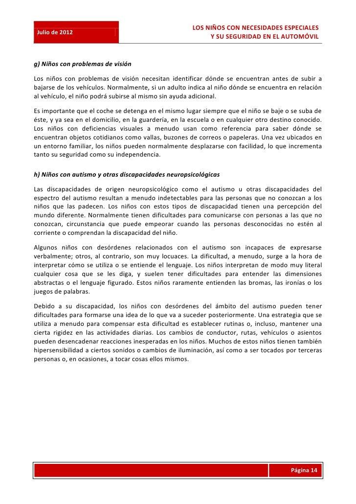 LOS NIÑOS CON NECESIDADES ESPECIALES Julio de 2012                                                            Y SU SEGURID...