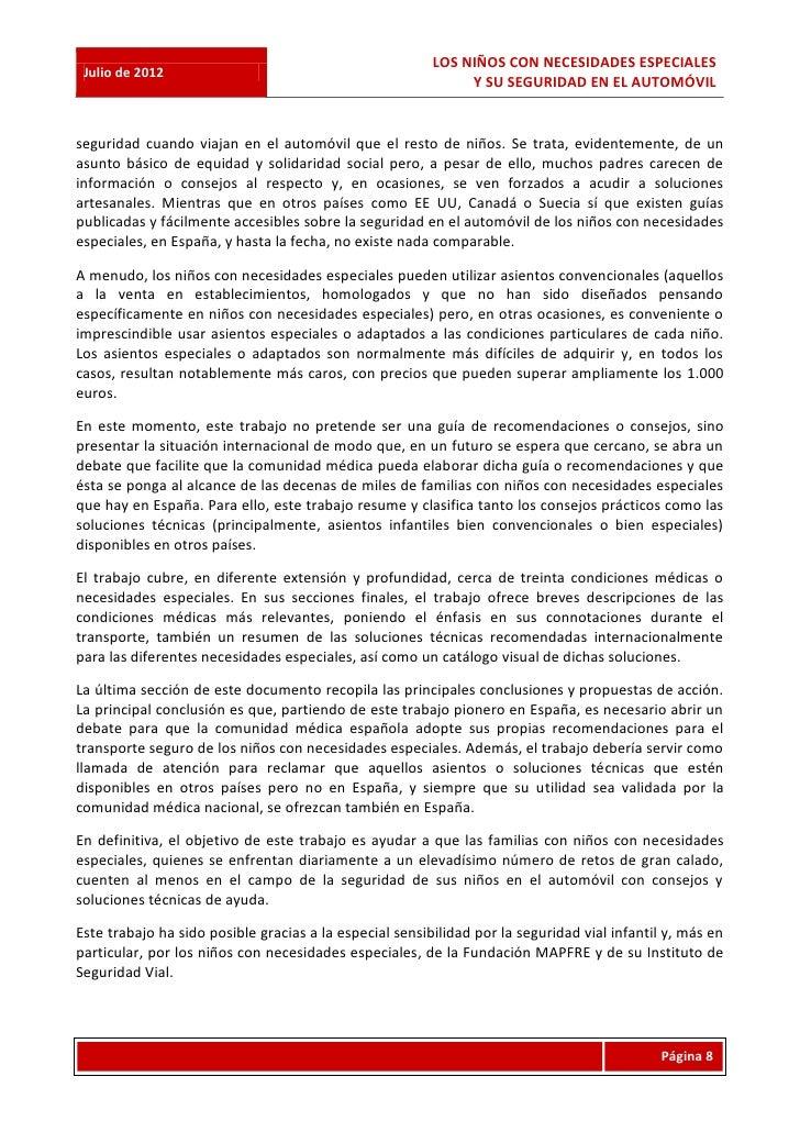 LOS NIÑOS CON NECESIDADES ESPECIALES Julio de 2012                                                              Y SU SEGUR...