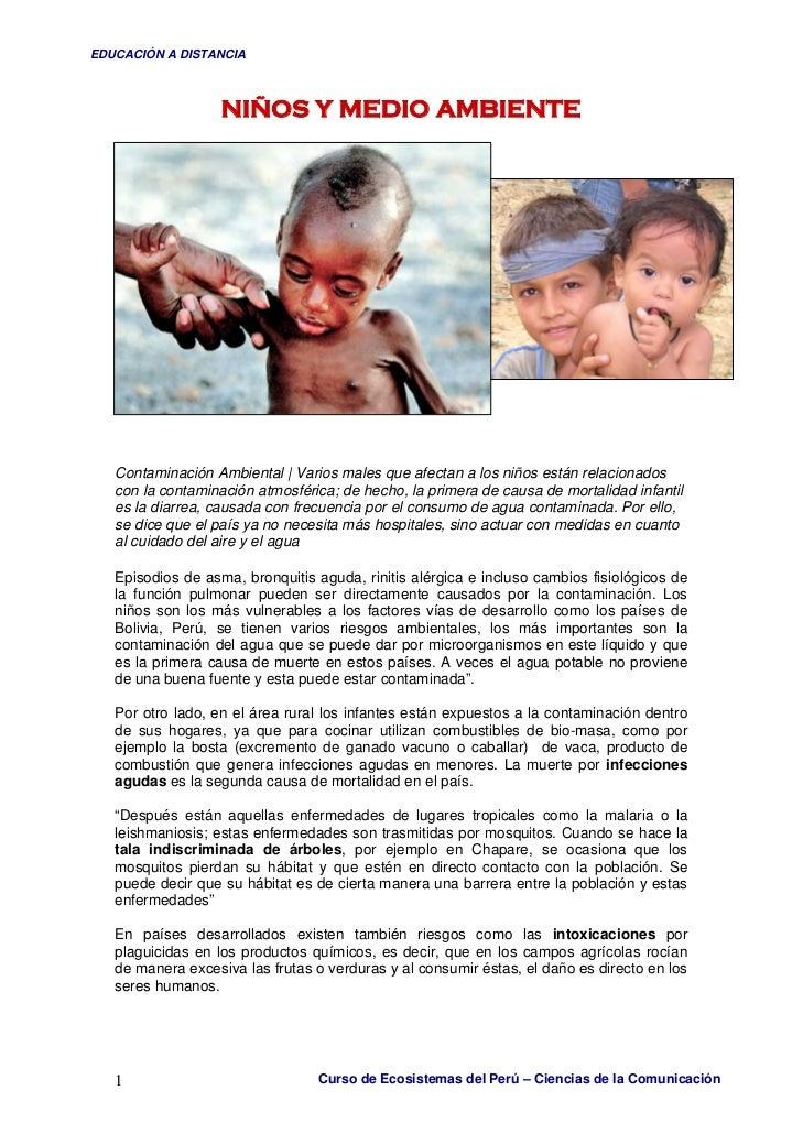 EDUCACIÓN A DISTANCIA                       NIÑOS Y MEDIO AMBIENTE        Contaminación Ambiental   Varios males que afect...