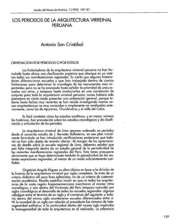 Anales del Museo de América, 1 (1993): 159-181LOS PERIODOS DE L4 ARQUITECTURA VIRREINAL                 PERUANA           ...