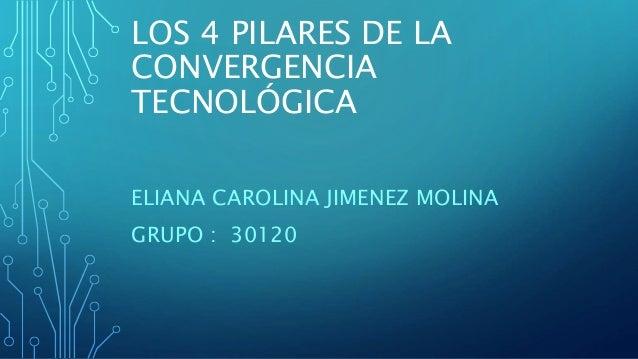 LOS 4 PILARES DE LA  CONVERGENCIA  TECNOLÓGICA  ELIANA CAROLINA JIMENEZ MOLINA  GRUPO : 30120