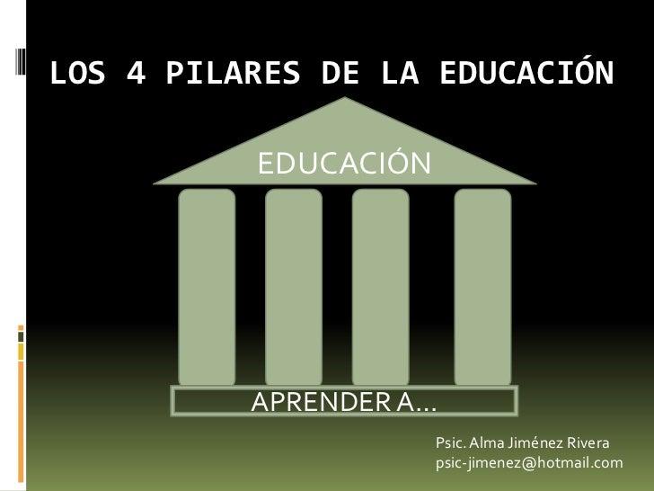 LOS 4 PILARES DE LA EDUCACIÓN<br />EDUCACIÓN<br />APRENDER A…<br />Psic. Alma Jiménez Rivera<br />psic-jimenez@hotmail.com...