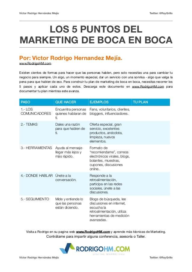 Víctor Rodrigo Hernández Mejía Twitter: @RoyGrillo  LOS 5 PUNTOS DEL  MARKETING DE BOCA EN BOCA  Por: Victor Rodrigo Herna...