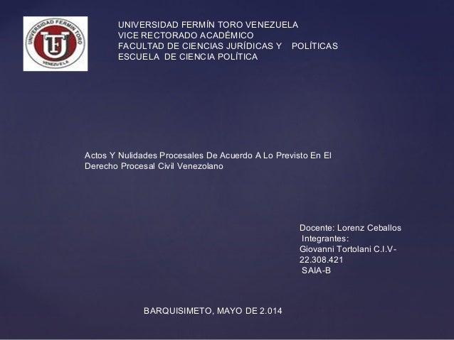 UNIVERSIDAD FERMÍN TORO VENEZUELA VICE RECTORADO ACADÉMICO FACULTAD DE CIENCIAS JURÍDICAS Y POLÍTICAS ESCUELA DE CIENCIA P...