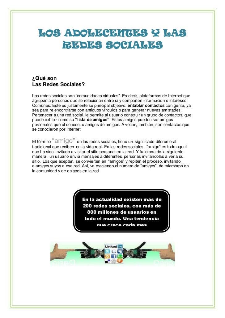 """LOS ADOLECENTES Y LAS REDES SOCIALES<br />¿Qué son<br />Las Redes Sociales?<br />Las redes sociales son """"comunidades virtu..."""