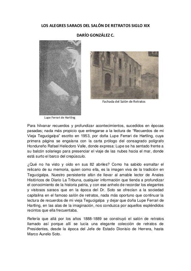 LOS ALEGRES SARAOS DEL SALÓN DE RETRATOS SIGLO XIX DARÍO GONZÁLEZ C. Fachada del Salón de Retratos Lupe Ferrari de Hartlin...