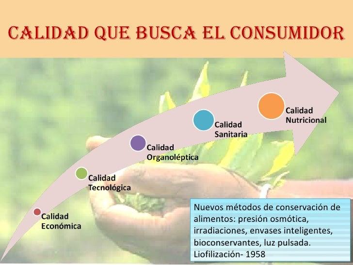 CALIDAD QUE BUSCA EL CONSUMIDOR Nuevos métodos de conservación de alimentos: presión osmótica, irradiaciones, envases inte...