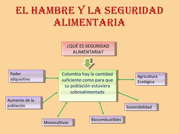 EL HAMBRE Y LA SEGURIDAD ALIMENTARIA ¿QUÉ ES SEGURIDAD ALIMENTARIA? Colombia hay la cantidad suficiente como para que su p...
