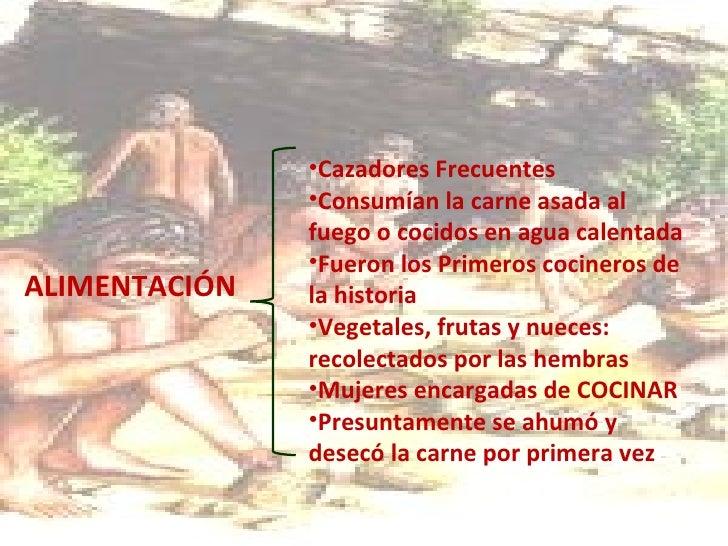 <ul><li>ALIMENTACIÓN </li></ul><ul><li>Cazadores Frecuentes </li></ul><ul><li>Consumían la carne asada al fuego o cocidos ...