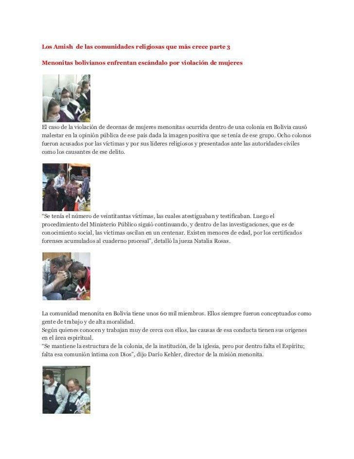 Los Amish de las comunidades religiosas que más crece parte 3Menonitas bolivianos enfrentan escándalo por violación de muj...