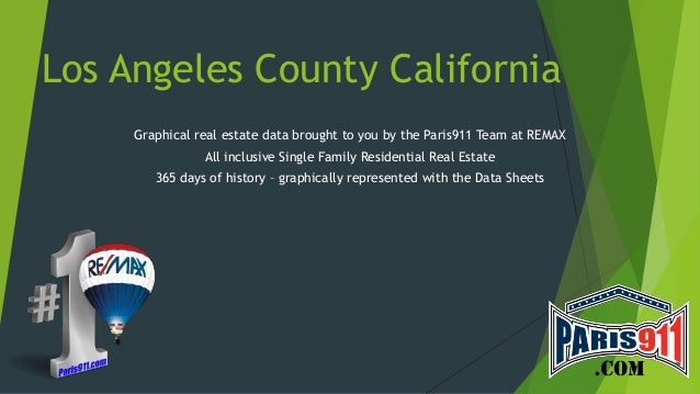 Los Angeles County California Graphical real estate data brought to you by the Paris911 Team at REMAX All inclusive Single...