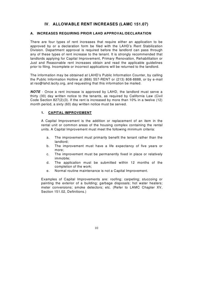 Los Angeles Rent Stabilization Handbook Rent Control