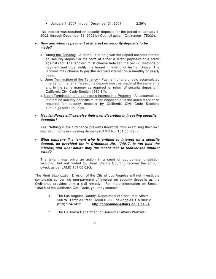 Los Angeles Rent Stabilization Handbook Rent Control – Rental Deposit Form