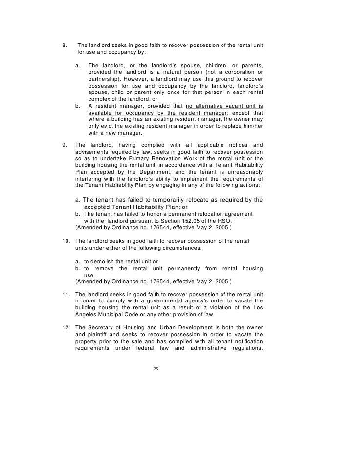 Los Angeles Rent Stabilization Handbook Rent Control