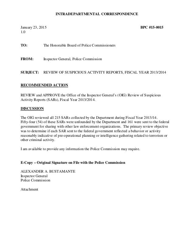 INTRADEPARTMENTAL CORRESPONDENCE January 23, 2015 BPC #15-0015 1.0 TO: The Honorable Board of Police Commissioners FROM: I...