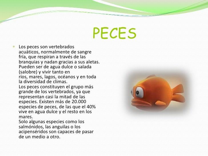 PECES<br />Los peces son vertebrados acuáticos, normalmente de sangre fría, que respiran a través de la...
