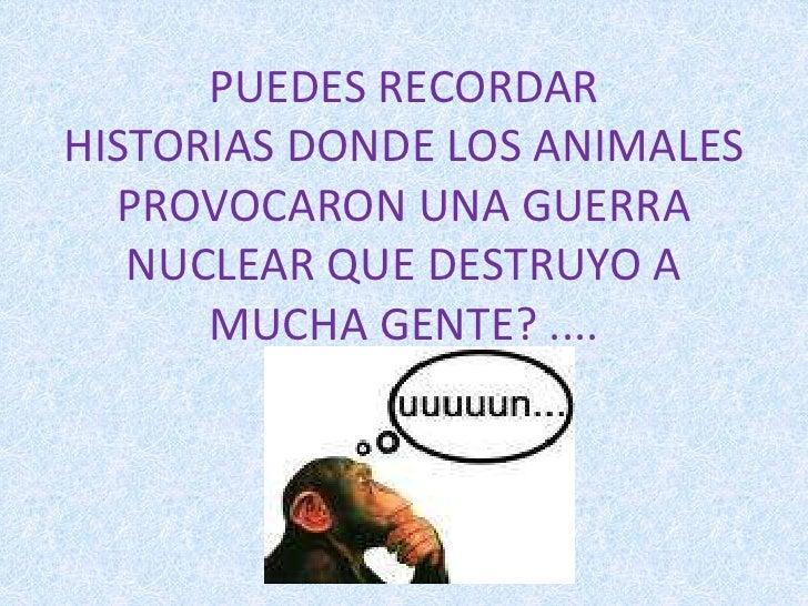 PUEDES RECORDAR HISTORIASDONDE LOS ANIMALES PROVOCARON UNA GUERRA NUCLEAR QUE DESTRUYO A MUCHA GENTE? ....<br />