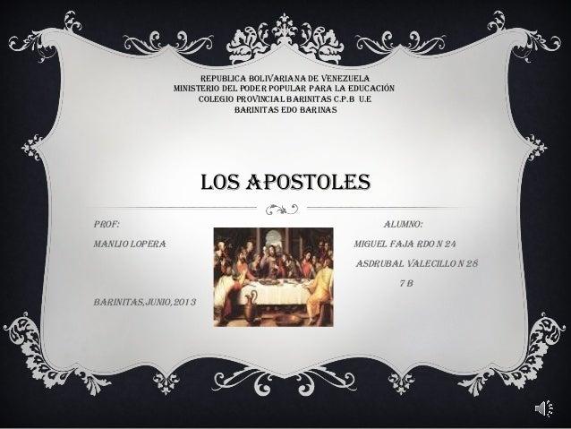 REPUBLICA BOLIVARIANA DE VENEZUELA MINISTERIO DEL PODER POPULAR PARA LA EDUCACIÓN COLEGIO PROVINCIAL BARINITAS C.P.B U.E B...