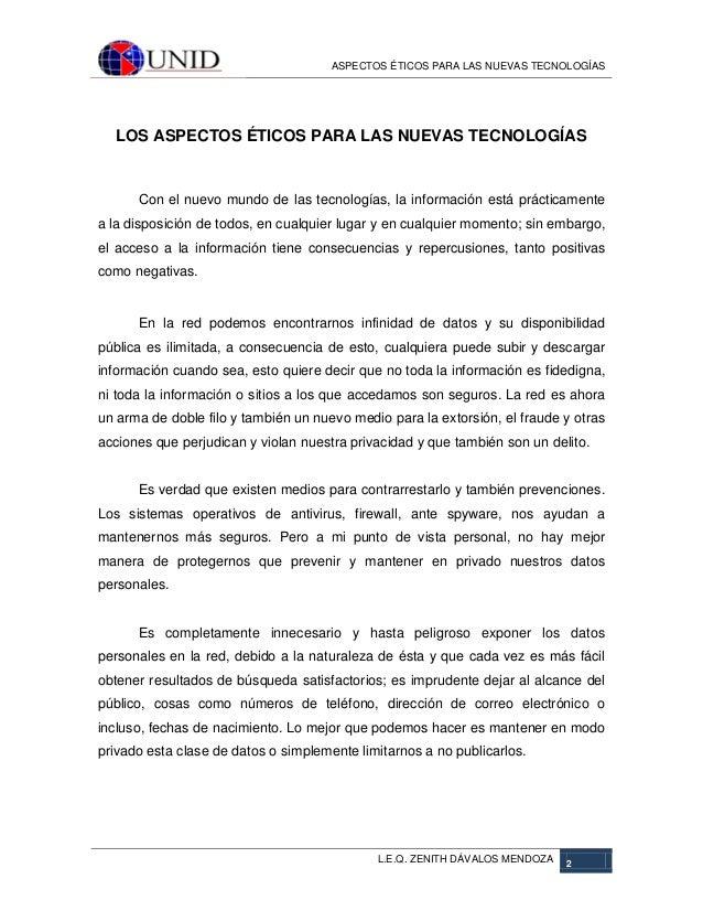 Aspectos éticos para nuevas tecnologías Slide 2