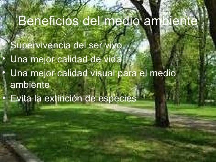 Beneficios del medio ambiente <ul><li>Supervivencia del ser vivo </li></ul><ul><li>Una mejor calidad de vida </li></ul><ul...