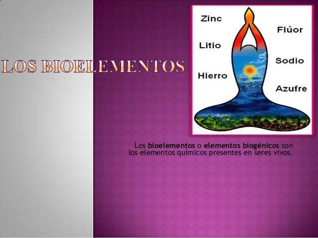 Los bioelementos o elementos biogénicos sonlos elementos químicos presentes en seres vivos.