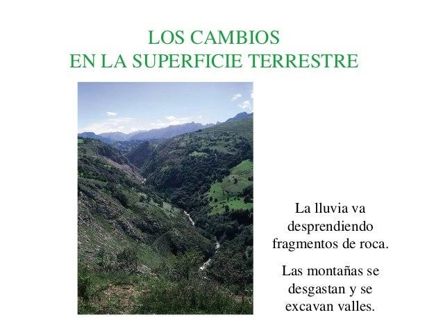 LOS CAMBIOSEN LA SUPERFICIE TERRESTRE                      La lluvia va                     desprendiendo                 ...